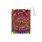 Abstract Shimmering Multicolor Swirly Drawstring Pouches (Small)  Front