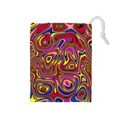 Abstract Shimmering Multicolor Swirly Drawstring Pouches (Medium)