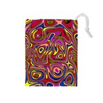Abstract Shimmering Multicolor Swirly Drawstring Pouches (Medium)  Front