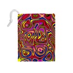 Abstract Shimmering Multicolor Swirly Drawstring Pouches (Medium)  Back