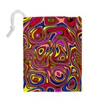 Abstract Shimmering Multicolor Swirly Drawstring Pouches (Large)  Back