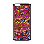 Abstract Shimmering Multicolor Swirly Apple iPhone 6/6S Black Enamel Case Front