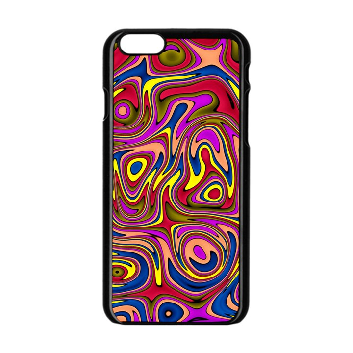 Abstract Shimmering Multicolor Swirly Apple iPhone 6/6S Black Enamel Case