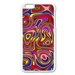 Abstract Shimmering Multicolor Swirly Apple iPhone 6 Plus/6S Plus Enamel White Case Front