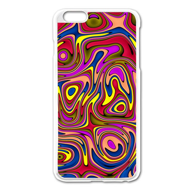 Abstract Shimmering Multicolor Swirly Apple iPhone 6 Plus/6S Plus Enamel White Case