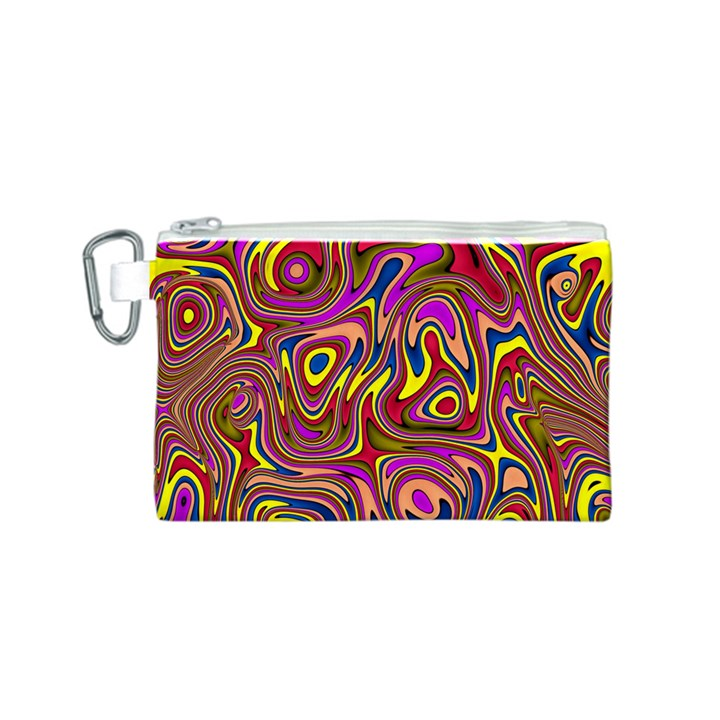 Abstract Shimmering Multicolor Swirly Canvas Cosmetic Bag (S)