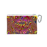 Abstract Shimmering Multicolor Swirly Canvas Cosmetic Bag (S) Back
