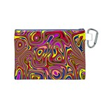 Abstract Shimmering Multicolor Swirly Canvas Cosmetic Bag (M) Back