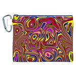 Abstract Shimmering Multicolor Swirly Canvas Cosmetic Bag (XXL) Front