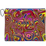 Abstract Shimmering Multicolor Swirly Canvas Cosmetic Bag (XXXL) Front