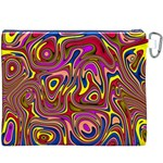 Abstract Shimmering Multicolor Swirly Canvas Cosmetic Bag (XXXL) Back