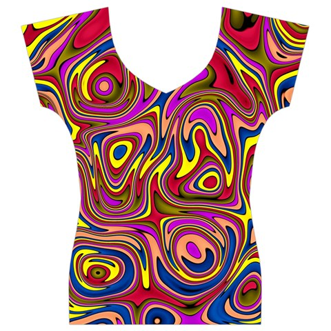 Abstract Shimmering Multicolor Swirly Women s V-Neck Cap Sleeve Top