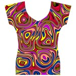 Abstract Shimmering Multicolor Swirly Women s V-Neck Cap Sleeve Top Front