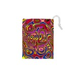 Abstract Shimmering Multicolor Swirly Drawstring Pouches (XS)  Front