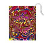 Abstract Shimmering Multicolor Swirly Drawstring Pouches (Extra Large) Front