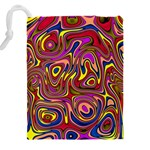 Abstract Shimmering Multicolor Swirly Drawstring Pouches (XXL) Back