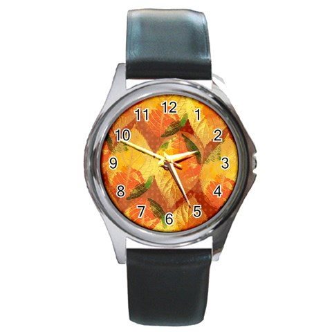 Fall Colors Leaves Pattern Round Metal Watch