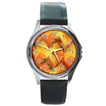 Fall Colors Leaves Pattern Round Metal Watch Front