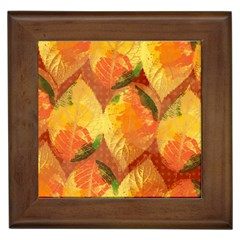 Fall Colors Leaves Pattern Framed Tiles