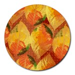 Fall Colors Leaves Pattern Round Mousepads Front