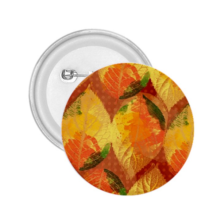 Fall Colors Leaves Pattern 2.25  Buttons
