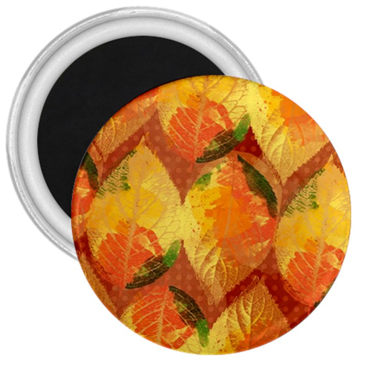 Fall Colors Leaves Pattern 3  Magnets