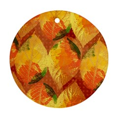 Fall Colors Leaves Pattern Ornament (Round)