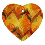 Fall Colors Leaves Pattern Ornament (Heart)  Front