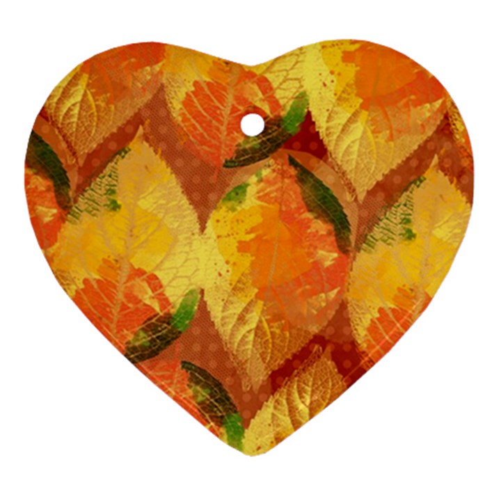 Fall Colors Leaves Pattern Ornament (Heart)