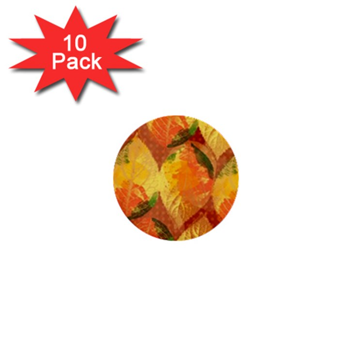 Fall Colors Leaves Pattern 1  Mini Buttons (10 pack)
