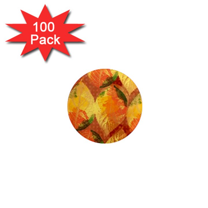 Fall Colors Leaves Pattern 1  Mini Magnets (100 pack)