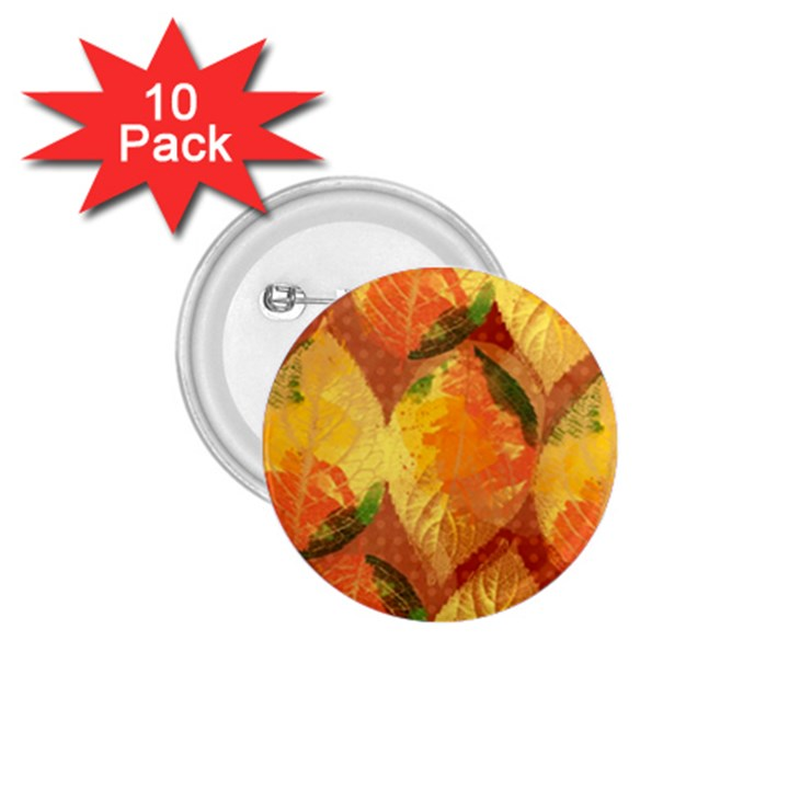Fall Colors Leaves Pattern 1.75  Buttons (10 pack)