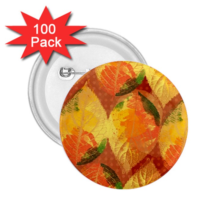 Fall Colors Leaves Pattern 2.25  Buttons (100 pack)