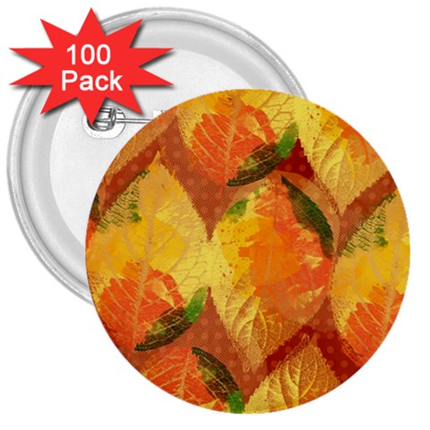 Fall Colors Leaves Pattern 3  Buttons (100 pack)