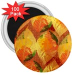 Fall Colors Leaves Pattern 3  Magnets (100 pack) Front