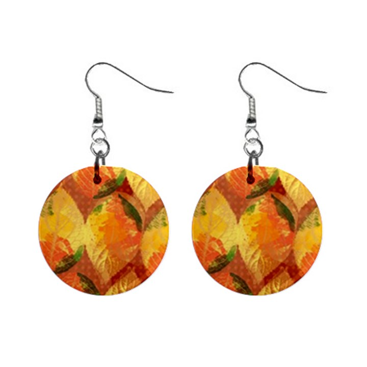 Fall Colors Leaves Pattern Mini Button Earrings