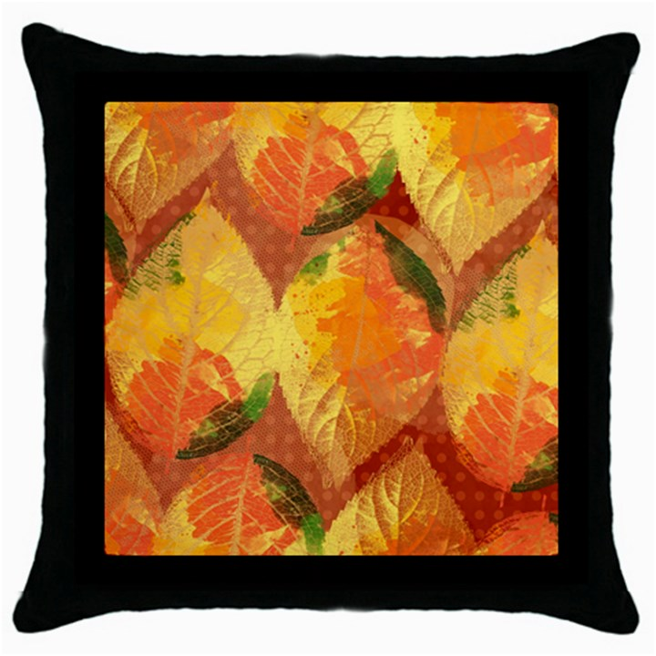 Fall Colors Leaves Pattern Throw Pillow Case (Black)