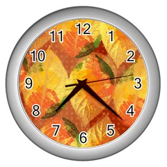 Fall Colors Leaves Pattern Wall Clocks (Silver)