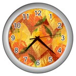 Fall Colors Leaves Pattern Wall Clocks (Silver)  Front