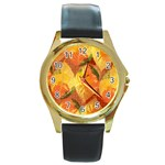 Fall Colors Leaves Pattern Round Gold Metal Watch Front