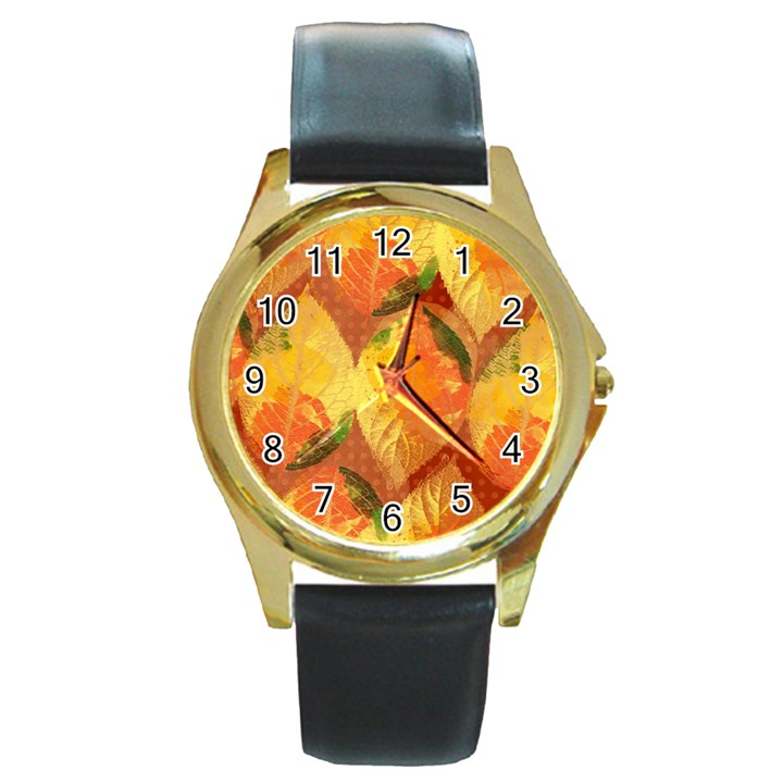Fall Colors Leaves Pattern Round Gold Metal Watch