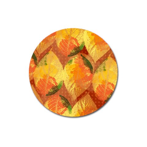 Fall Colors Leaves Pattern Magnet 3  (Round)