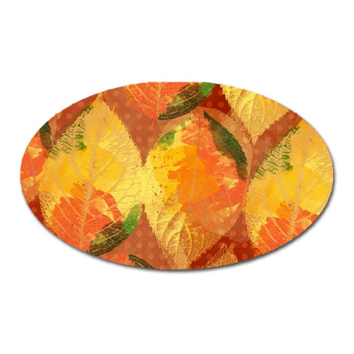 Fall Colors Leaves Pattern Oval Magnet