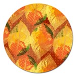 Fall Colors Leaves Pattern Magnet 5  (Round) Front