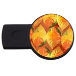 Fall Colors Leaves Pattern USB Flash Drive Round (1 GB)  Front