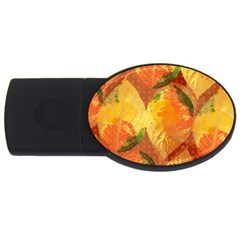 Fall Colors Leaves Pattern USB Flash Drive Oval (1 GB)