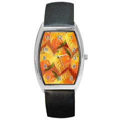 Fall Colors Leaves Pattern Barrel Style Metal Watch