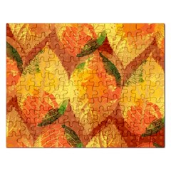 Fall Colors Leaves Pattern Rectangular Jigsaw Puzzl