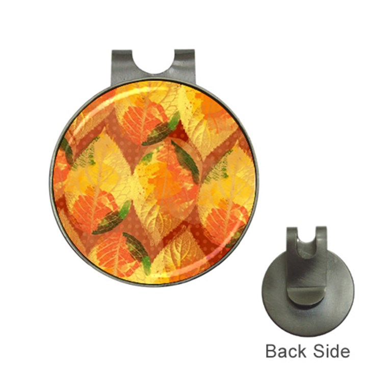 Fall Colors Leaves Pattern Hat Clips with Golf Markers
