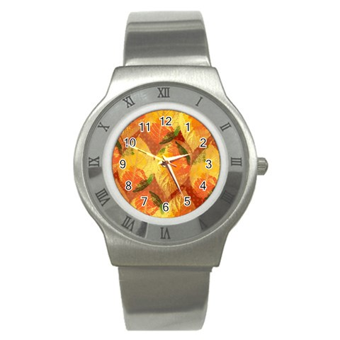 Fall Colors Leaves Pattern Stainless Steel Watch